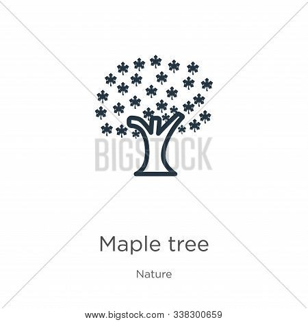 Red Maple Tree Icon. Thin Linear Red Maple Tree Outline Icon Isolated On White Background From Natur