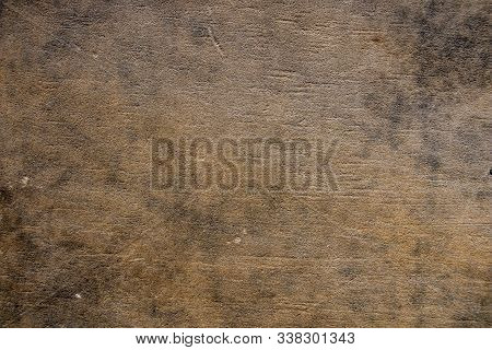 Brown Sandstone Wall Texture Details. Close-up Photo Of Gritty Background. Horizontal Orientation