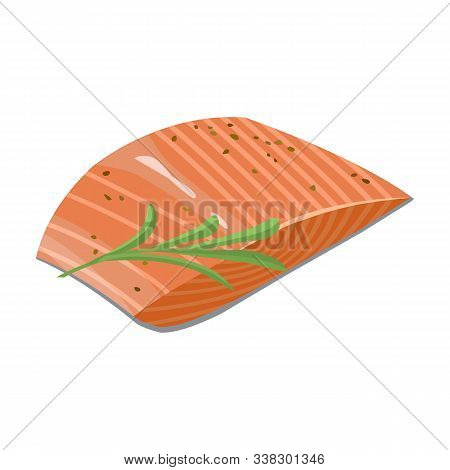 Piece Fish Vector Icon.cartoon Vector Icon Isolated On White Background Piece Fish.