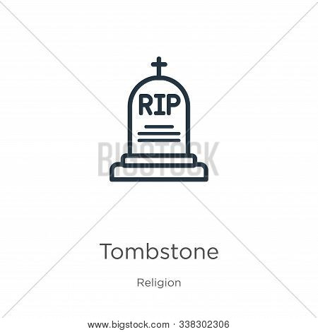 Tombstone Icon. Thin Linear Tombstone Outline Icon Isolated On White Background From Religion Collec