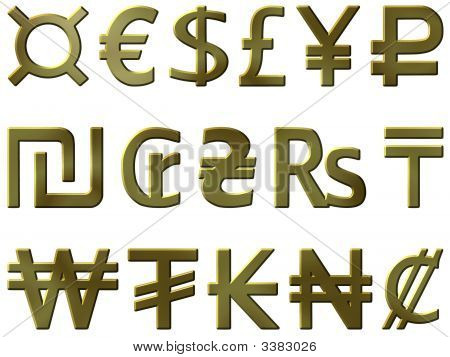 Golden Currency Symbols