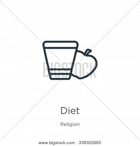 Diet Icon. Thin Linear Diet Outline Icon Isolated On White Background From Religion Collection. Line