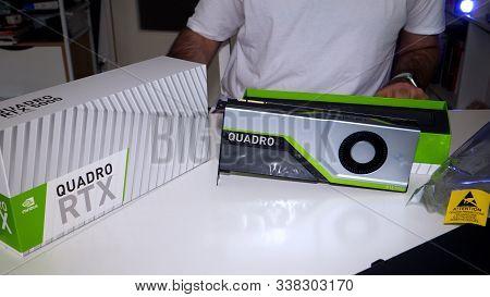 Paris, France - Mar 11, 2019: New Nvidia Quadro Rtx 5000 For Workstations Running Professional Cad,