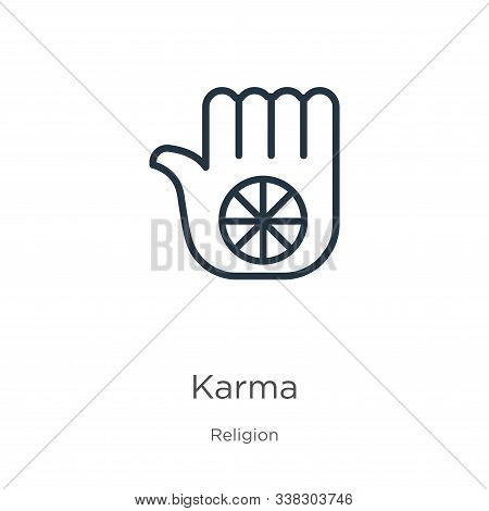 Karma Icon. Thin Linear Karma Outline Icon Isolated On White Background From Religion Collection. Li