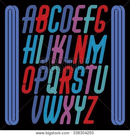 Vector Funky Tall Upper Case English Alphabet Letters Collection, For Use As Retro Poster Design Ele