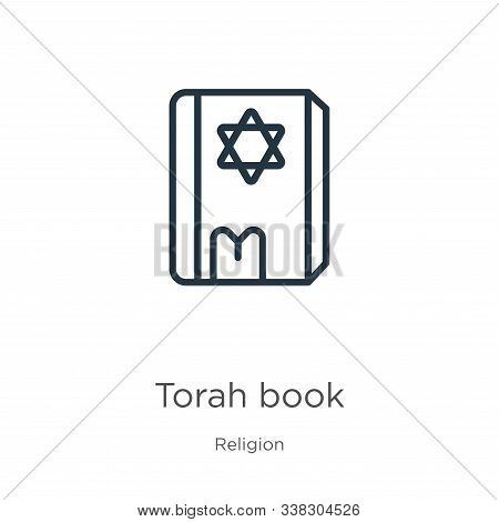 Torah Book Icon. Thin Linear Torah Book Outline Icon Isolated On White Background From Religion Coll