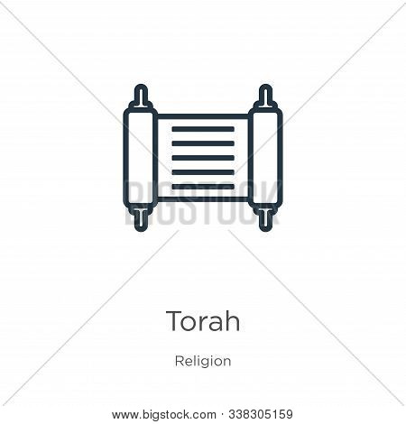 Torah Icon. Thin Linear Torah Outline Icon Isolated On White Background From Religion Collection. Li