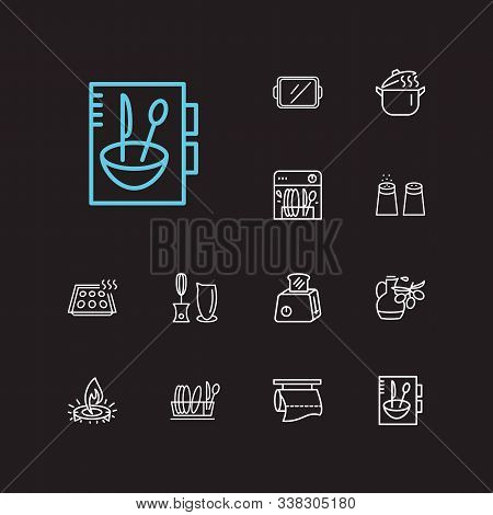 Kitchenware Icons Set. Salt With Pepper And Kitchenware Icons With Olive Oil, Pot And Kitchen Paper.