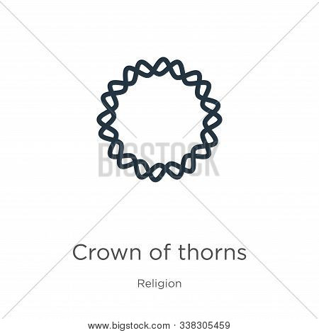 Crown Of Thorns Icon. Thin Linear Crown Of Thorns Outline Icon Isolated On White Background From Rel