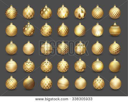 Set Of Decorative Gold Christmas Balls Isolated On Dark Background, Illustration.