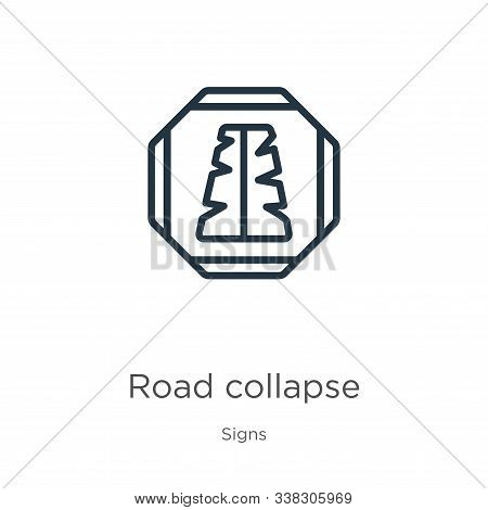 Road Collapse Icon. Thin Linear Road Collapse Outline Icon Isolated On White Background From Signs C