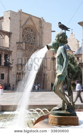 Turia Fountain in the Plaza de la Virgen Valencia, Spain.