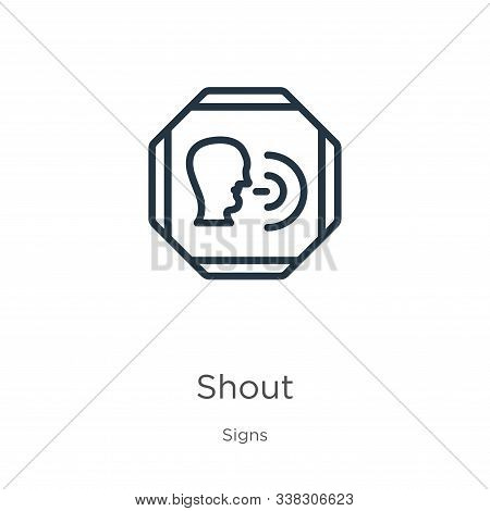 Shout Icon. Thin Linear Shout Outline Icon Isolated On White Background From Signs Collection. Line