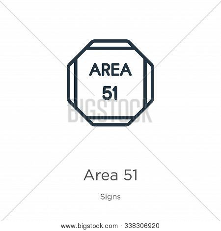 Area 51 Icon. Thin Linear Area 51 Outline Icon Isolated On White Background From Signs Collection. L