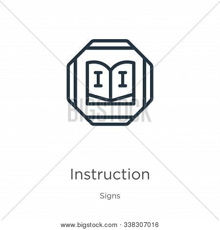 Instruction Icon. Thin Linear Instruction Outline Icon Isolated On White Background From Signs Colle