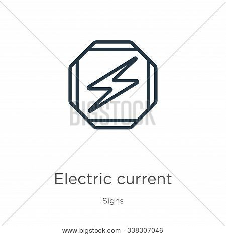 Electric Current Icon. Thin Linear Electric Current Outline Icon Isolated On White Background From S