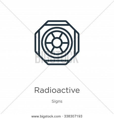 Radioactive Symbol Icon. Thin Linear Radioactive Symbol Outline Icon Isolated On White Background Fr