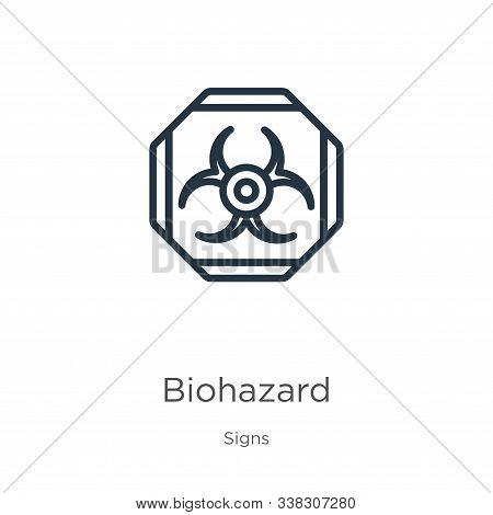 Biohazard Symbol Icon. Thin Linear Biohazard Symbol Outline Icon Isolated On White Background From S
