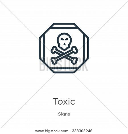Toxic Symbol Icon. Thin Linear Toxic Symbol Outline Icon Isolated On White Background From Signs Col