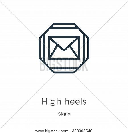 High Heels Icon. Thin Linear High Heels Outline Icon Isolated On White Background From Signs Collect