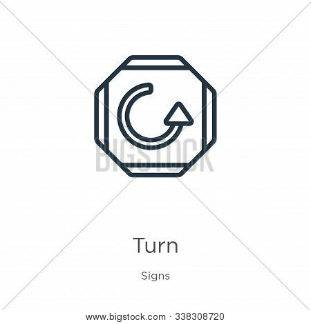 Turn Icon. Thin Linear Turn Outline Icon Isolated On White Background From Signs Collection. Line Ve