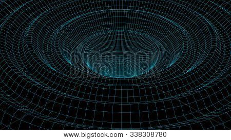 Vortex. Vector Perspective Curved Grid. Wireframe Abstract Tunnel. 3D Vector Wormhole With A Mesh St