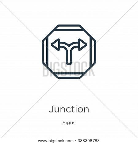 Junction Icon. Thin Linear Junction Outline Icon Isolated On White Background From Signs Collection.