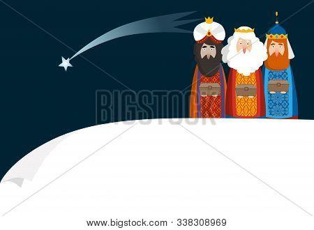 Christmas Greeting Card, Invitation. Three Magi Bringing Gifts. Biblical Kings Caspar, Melchior, Bal