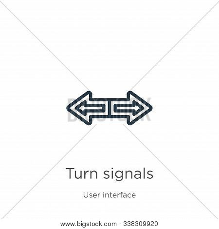 Turn Signals Icon. Thin Linear Turn Signals Outline Icon Isolated On White Background From User Inte