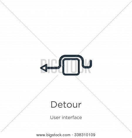Detour Icon. Thin Linear Detour Outline Icon Isolated On White Background From User Interface Collec