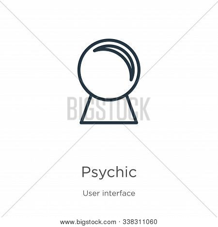 Psychic Icon. Thin Linear Psychic Outline Icon Isolated On White Background From User Interface Coll