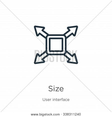 Size Icon. Thin Linear Size Outline Icon Isolated On White Background From User Interface Collection