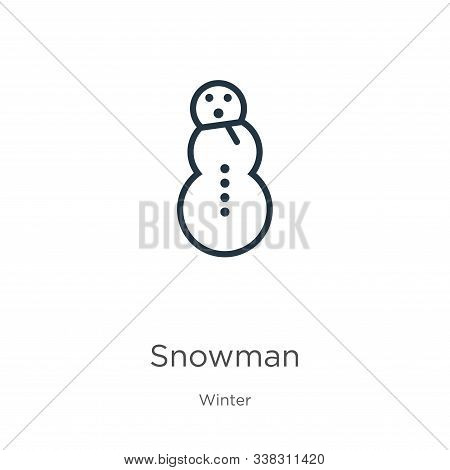 Snowman Icon. Thin Linear Snowman Outline Icon Isolated On White Background From Winter Collection.
