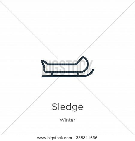 Sledge Icon. Thin Linear Sledge Outline Icon Isolated On White Background From Winter Collection. Li
