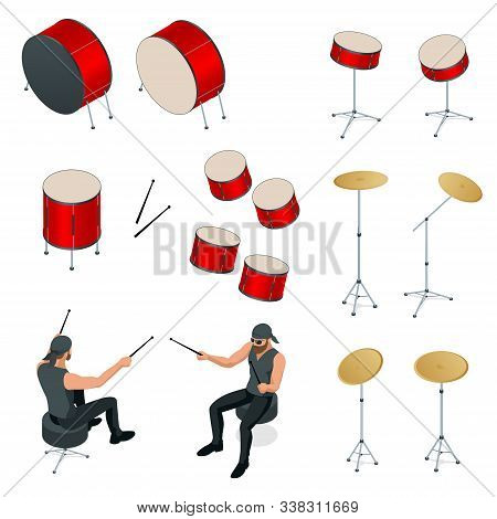 Isometric Drummer Behind The Drum Icon Set. Rehearsal Base, Drummer Playing The Drums Set Isolated