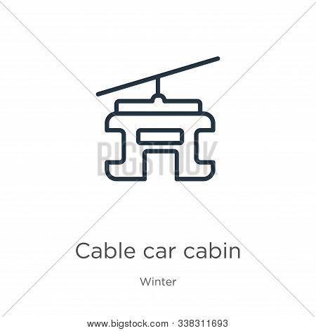 Cable Car Cabin Icon. Thin Linear Cable Car Cabin Outline Icon Isolated On White Background From Win