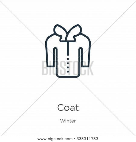 Coat Icon. Thin Linear Coat Outline Icon Isolated On White Background From Winter Collection. Line V
