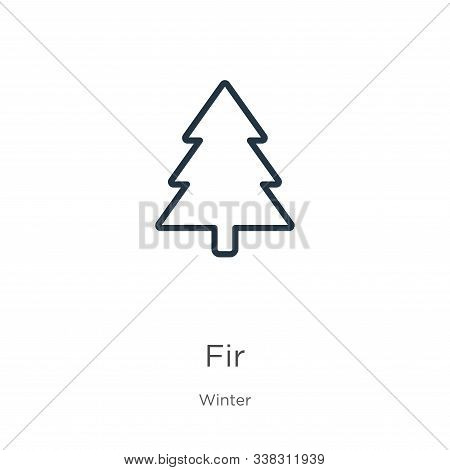 Fir Icon. Thin Linear Fir Outline Icon Isolated On White Background From Winter Collection. Line Vec