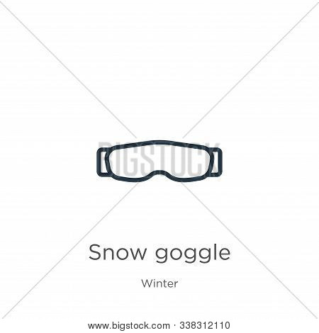 Snow Goggle Icon. Thin Linear Snow Goggle Outline Icon Isolated On White Background From Winter Coll