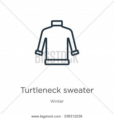 Turtleneck Sweater Icon. Thin Linear Turtleneck Sweater Outline Icon Isolated On White Background Fr