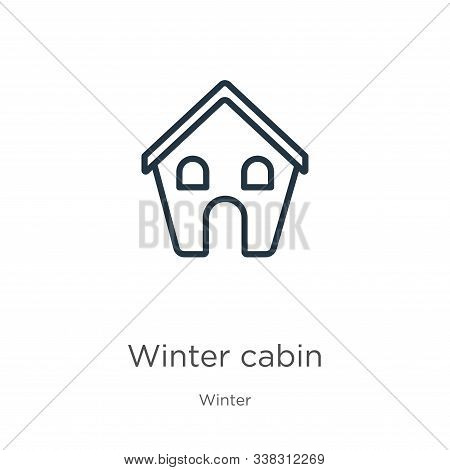 Winter Cabin Icon. Thin Linear Winter Cabin Outline Icon Isolated On White Background From Winter Co
