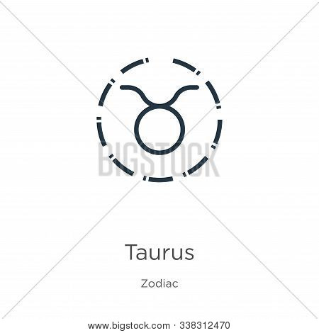 Taurus Icon. Thin Linear Taurus Outline Icon Isolated On White Background From Zodiac Collection. Li