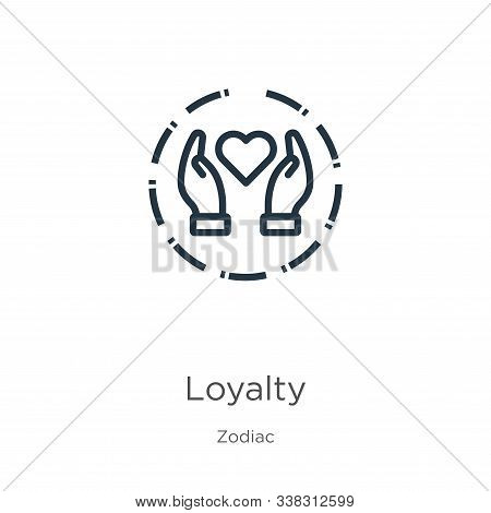 Loyalty Icon. Thin Linear Loyalty Outline Icon Isolated On White Background From Zodiac Collection.