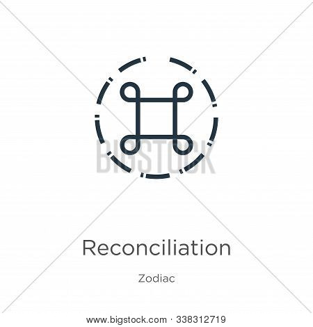 Reconciliation Icon. Thin Linear Reconciliation Outline Icon Isolated On White Background From Zodia