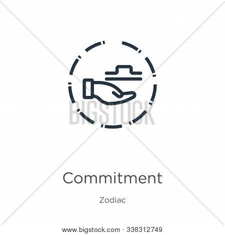 Commitment Icon. Thin Linear Commitment Outline Icon Isolated On White Background From Zodiac Collec