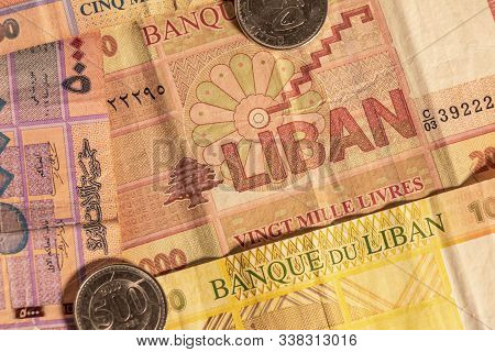 A Composition Of Lebanese Lira Ll. Lebanese Pound Lbp Banknotes And Coins Providing Great Options To