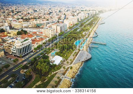Limassol, Cyprus, Aerial View At Promenade Or Embankment. Famous Limassol Walking Alley With Palms A