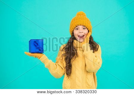 Shopaholic. New Year Souvenir. Happy Childhood. Small Girl Warm Clothes Hold Gift. Little Secret Pre