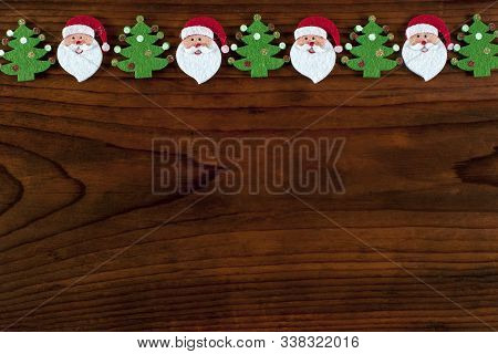 Christmas Candy Decoration  On Wooden Background.copy Space.