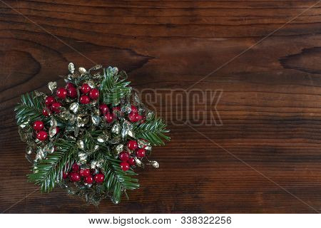 Christmas Or New Year Decoration On Wooden Background.